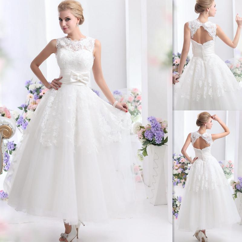 Ankle length wedding dresses white tulle appliques lace a for Chinese website for wedding dresses