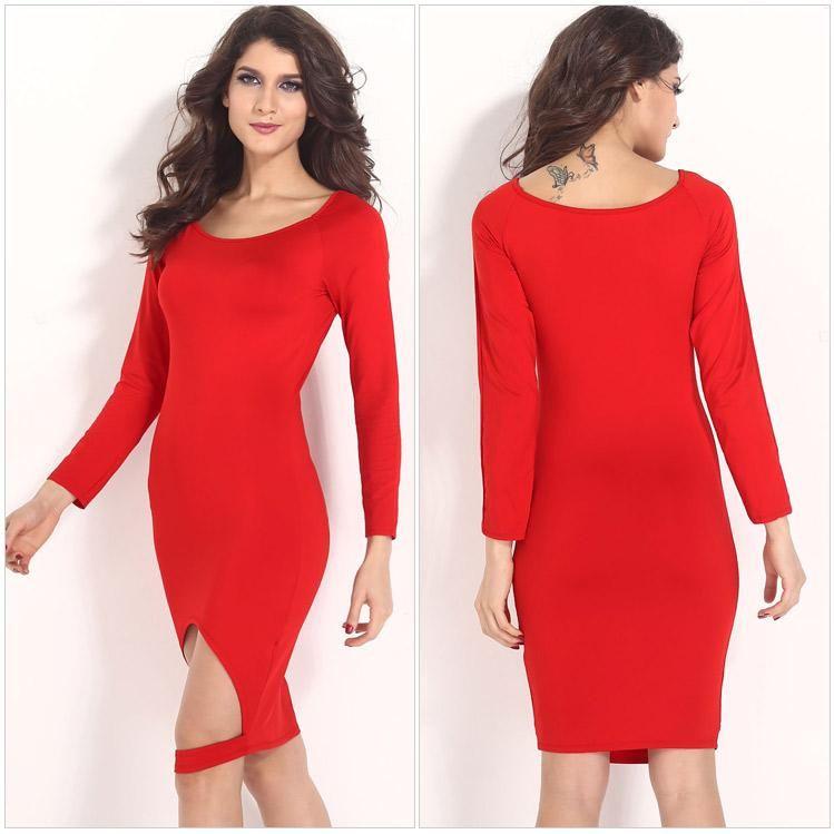 Red dress tight dressed