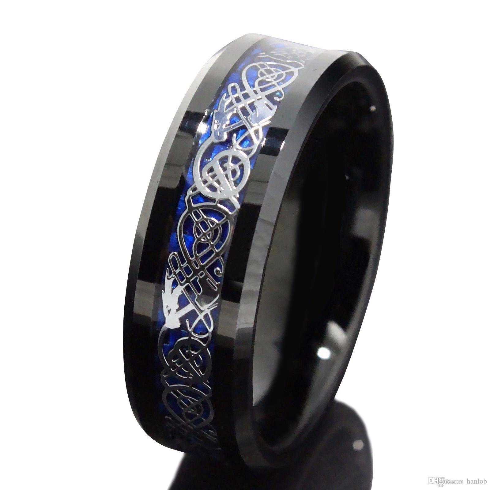 2017 8mm Blue Black Silvering Celtic Dragon Tungsten