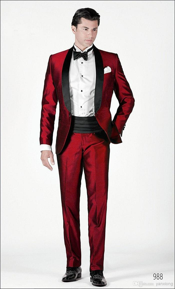 2015 Italian Men Suits Red Wedding Suits For Men Shawl Lapel Formal Tuxedos For Men One Button