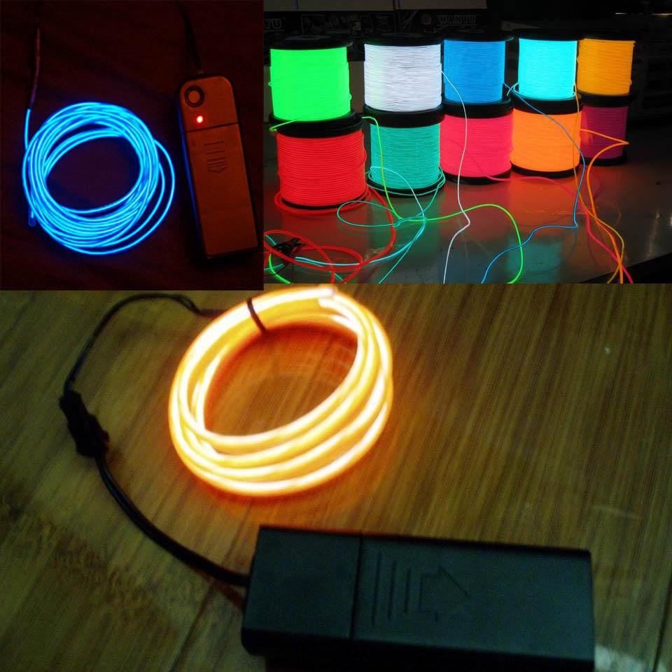 Car Light Decoration 2017 5m Car Flexible Neon Light El Wire Rope Tube With Controller
