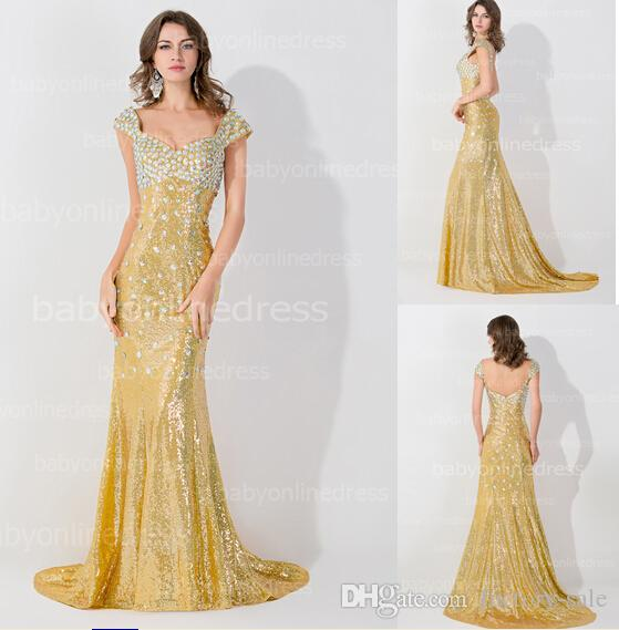 Vintage Real Images Gold Sequin Evening Dresses 2016 Sheath Cap ...