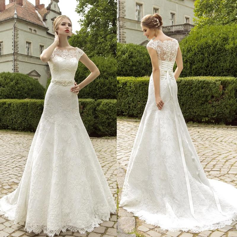 2015 Off Shoulder Lace Wedding Dresses Capped Sleeves Fit And ...