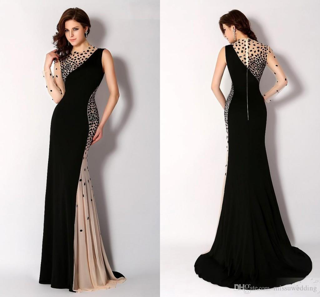 Newest Black High Neck Evening Dresses Long Sleeve One Shoulder ...
