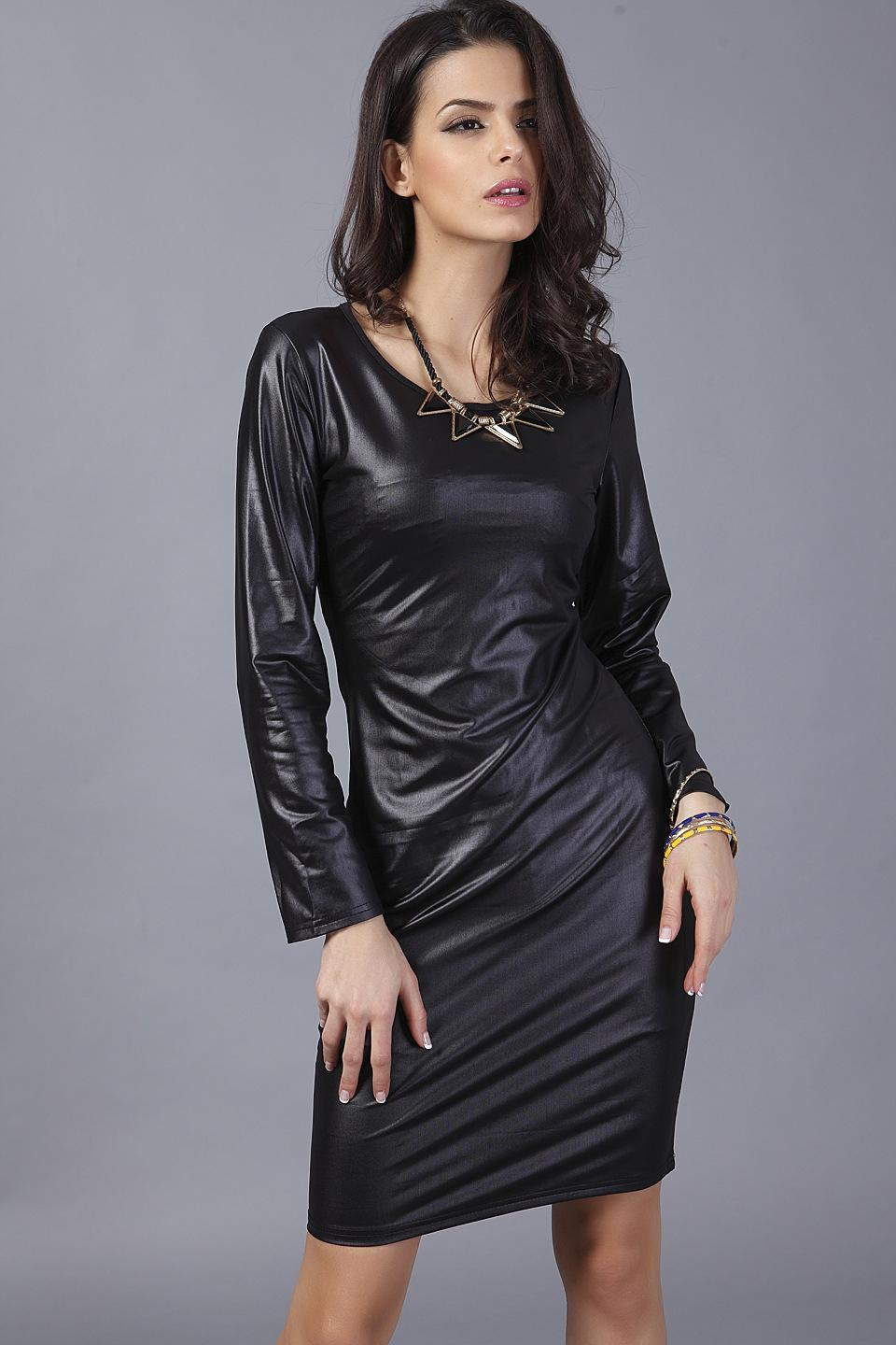 Women Sexy Leather Dress Full Sleeve V Neck One Piece