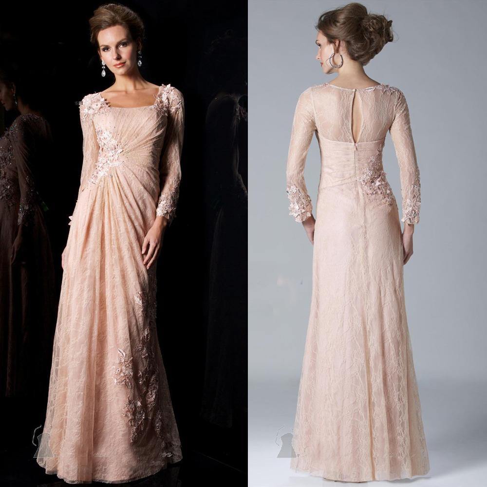 Gorgeous Pink Dress For Mothers Brides Long Sleeve Formal Dresses ...