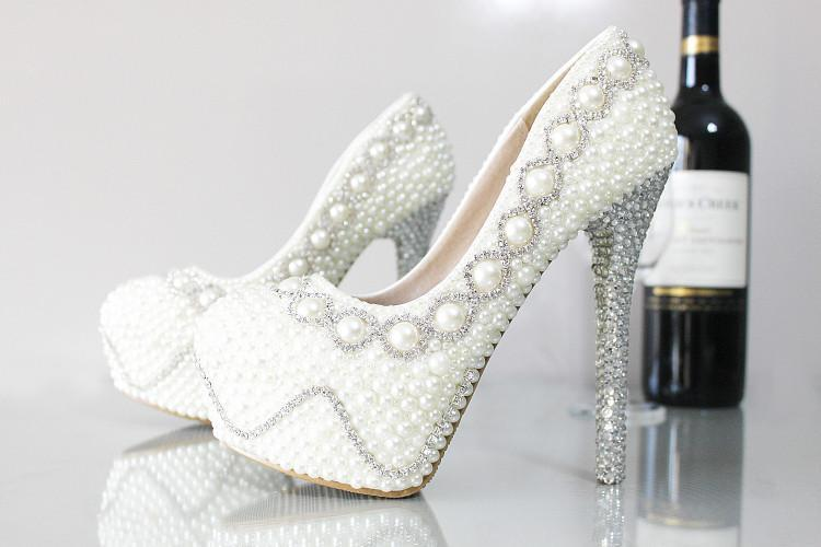 2015 Glamorous Female Shoes Cheap Wedding Shoes Pearls Crystals ...