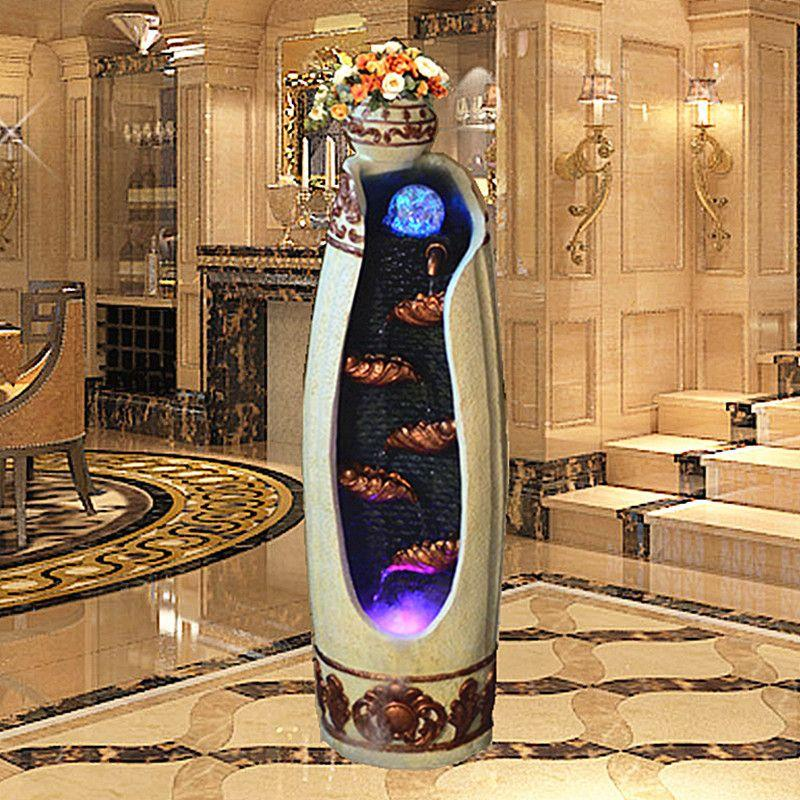 European Creative Indoor Home Feng Shui Water Fountain Living Room Humidifier Crafts Round