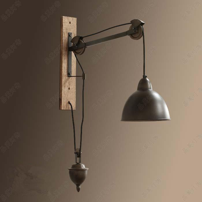2018 novelty retro pulley wall lamp bedroom living room for Wall light fixtures bedroom