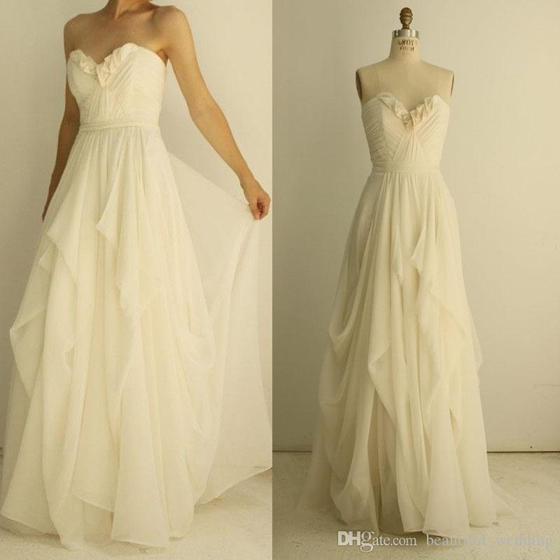 Chiffon Cheap Wedding Dresses Under 100 Sweetheart