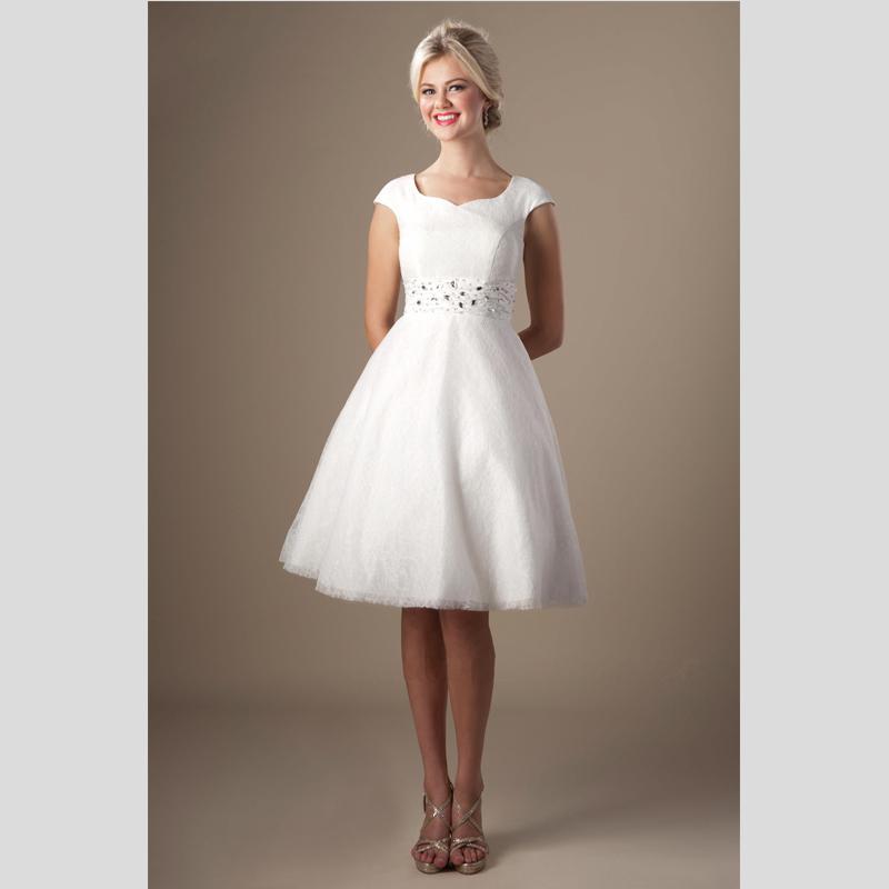Black/White Modest Homecoming Dress Short Lace Knee Length Cap ...