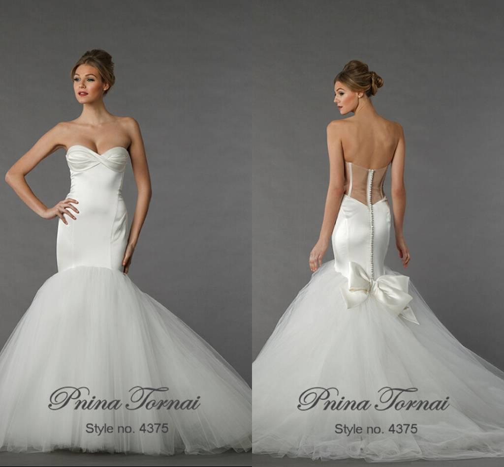 New Pnina Tornai Mermaid Strapless Wedding Dresses 2015