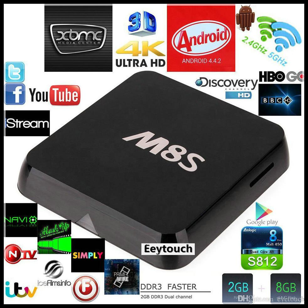 USA Stock USA Cheapest Quad M8S Amlogic S812 Quad Core 4K Smart TV Box Android 4.4 2GB 8GB kodi14.2 2.4G 5G WIFI H.265 HEVC Bluetooth 5pcs