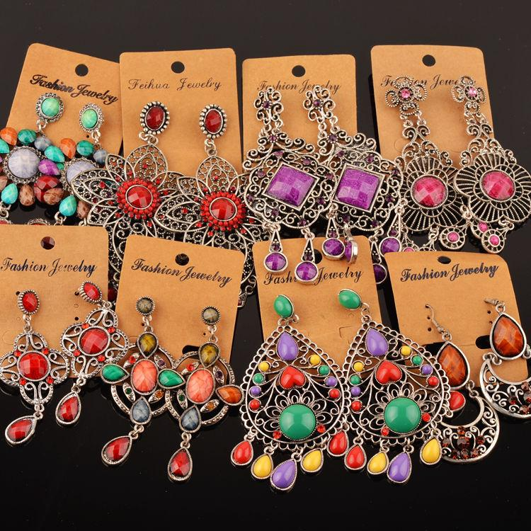 Newest Retro Silver Or Gold Plated Colorful Crystal