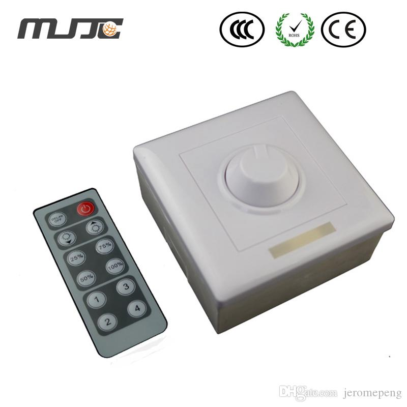 2017 mjjc 12v 8a led dimmer wall mounted knob pwm dimming switch with a ir 12 keys remote for. Black Bedroom Furniture Sets. Home Design Ideas