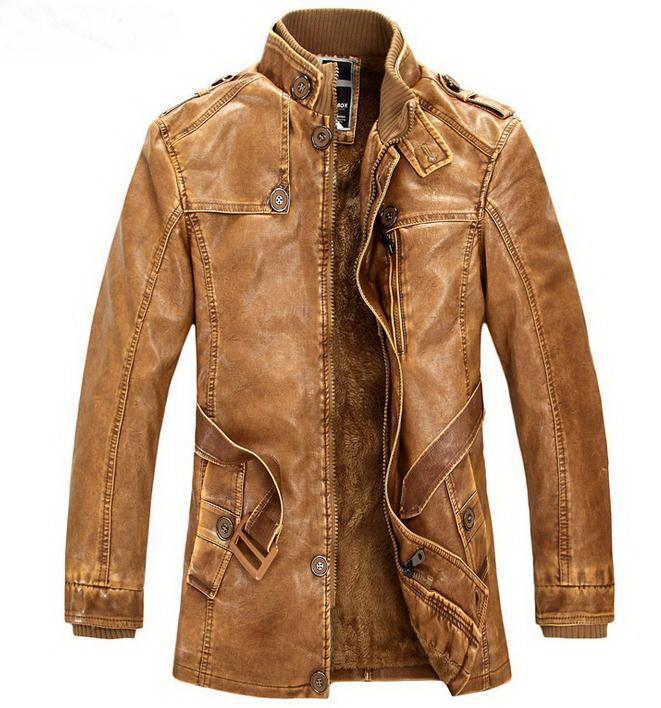 Winter Warm Motorcycle PU Leather Jacket Men's Casual Brand Jacket ...