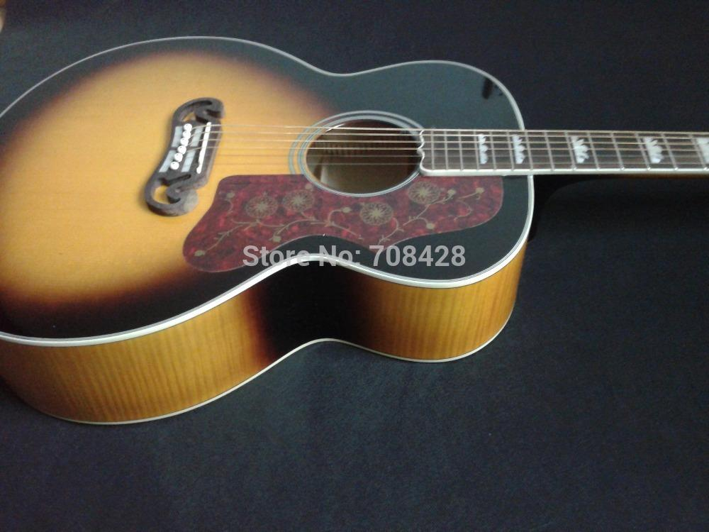 Flamed Maple Guitar Wood Flame Maple Wood J200 Jumbo Acoustic Guitar Sunburst Guitar For Wholesale