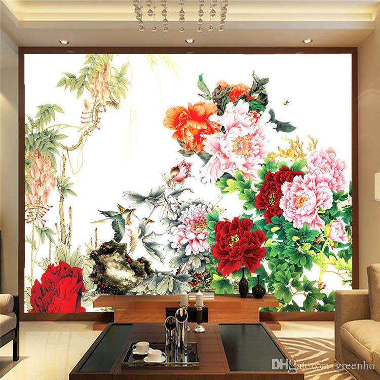 Flower bird painting photo wallpaper chinese style wall for Decorative mural painting