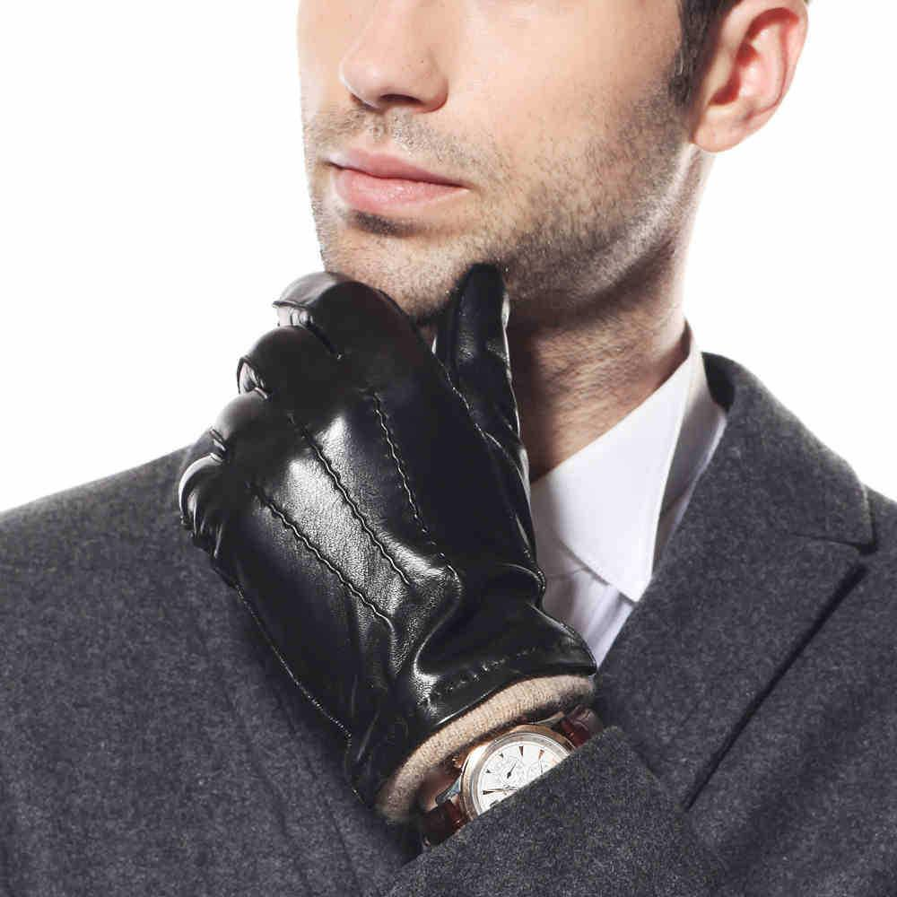 Black leather gloves on sale - 2017 Men Genuine Leather Gloves With Knitting Lining Classic Black Leather Gloves For Male Winter Warm Sheepskin Driving Gloves From Z001 123 05 Dhgate