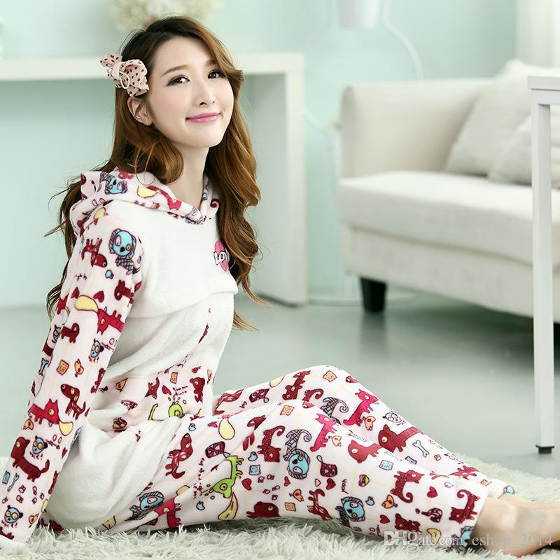 Autumn And Winter Maternity New Korean Hooded Flannel Pajamas Warm ...