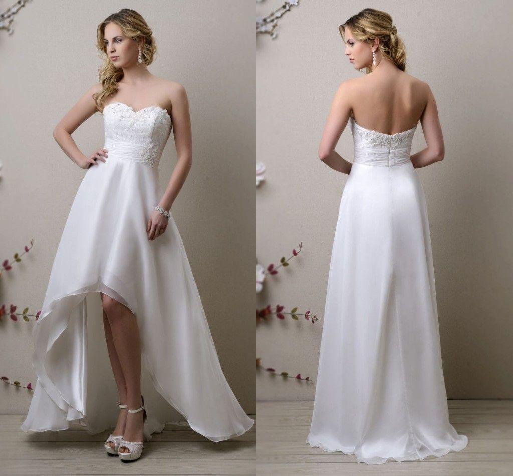 2015 Vintage Inspired White Hi Lo Wedding Dresses A Line