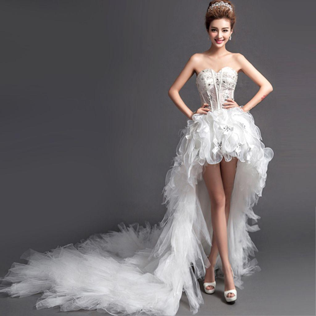2015 new sexy deep v neck strapless lace up wedding dress for Short wedding dress with long train