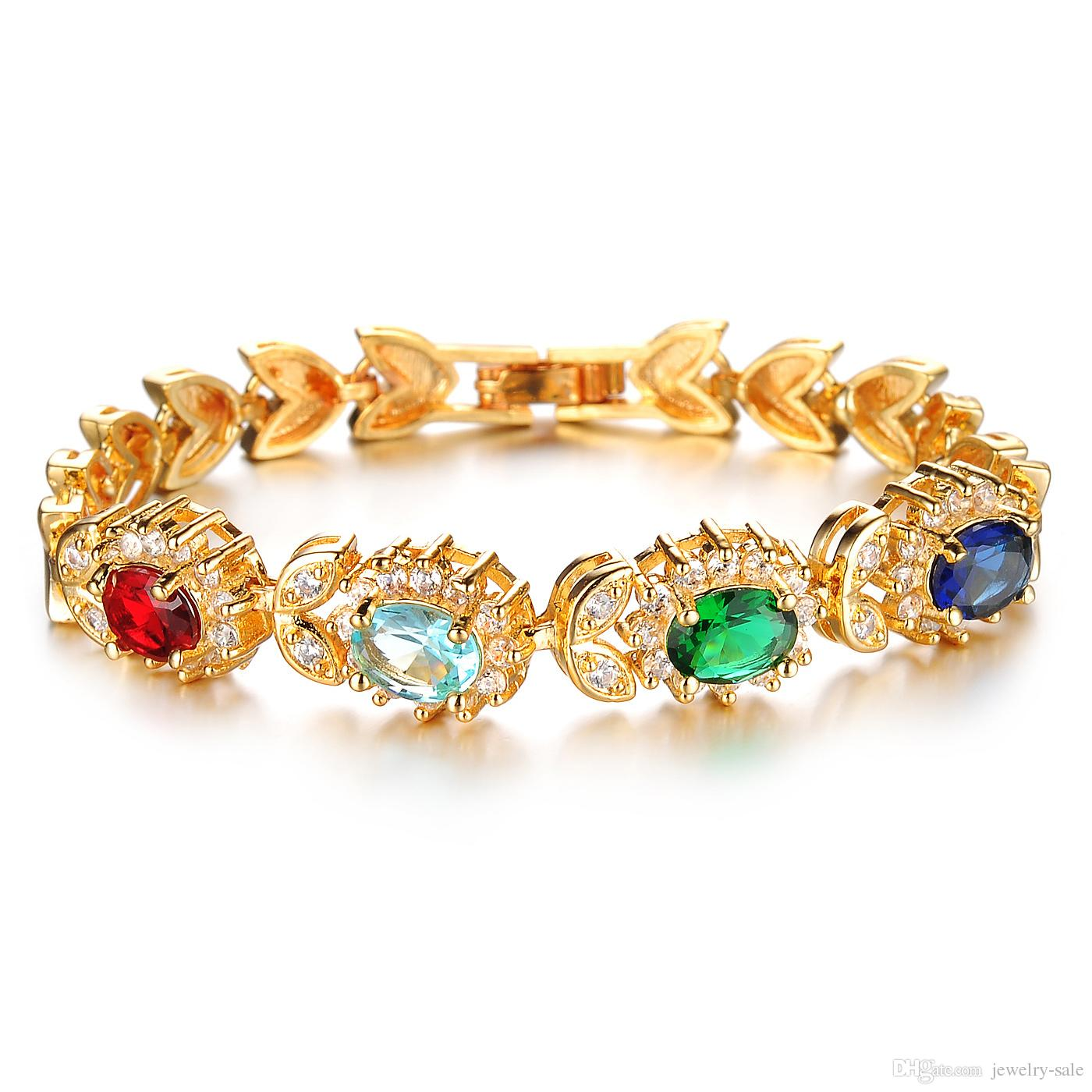 Fashion 18k Yellow Gold Bracelets For Women Wedding Bracelet With Cz Zircon  Crystal Free Shipping 439