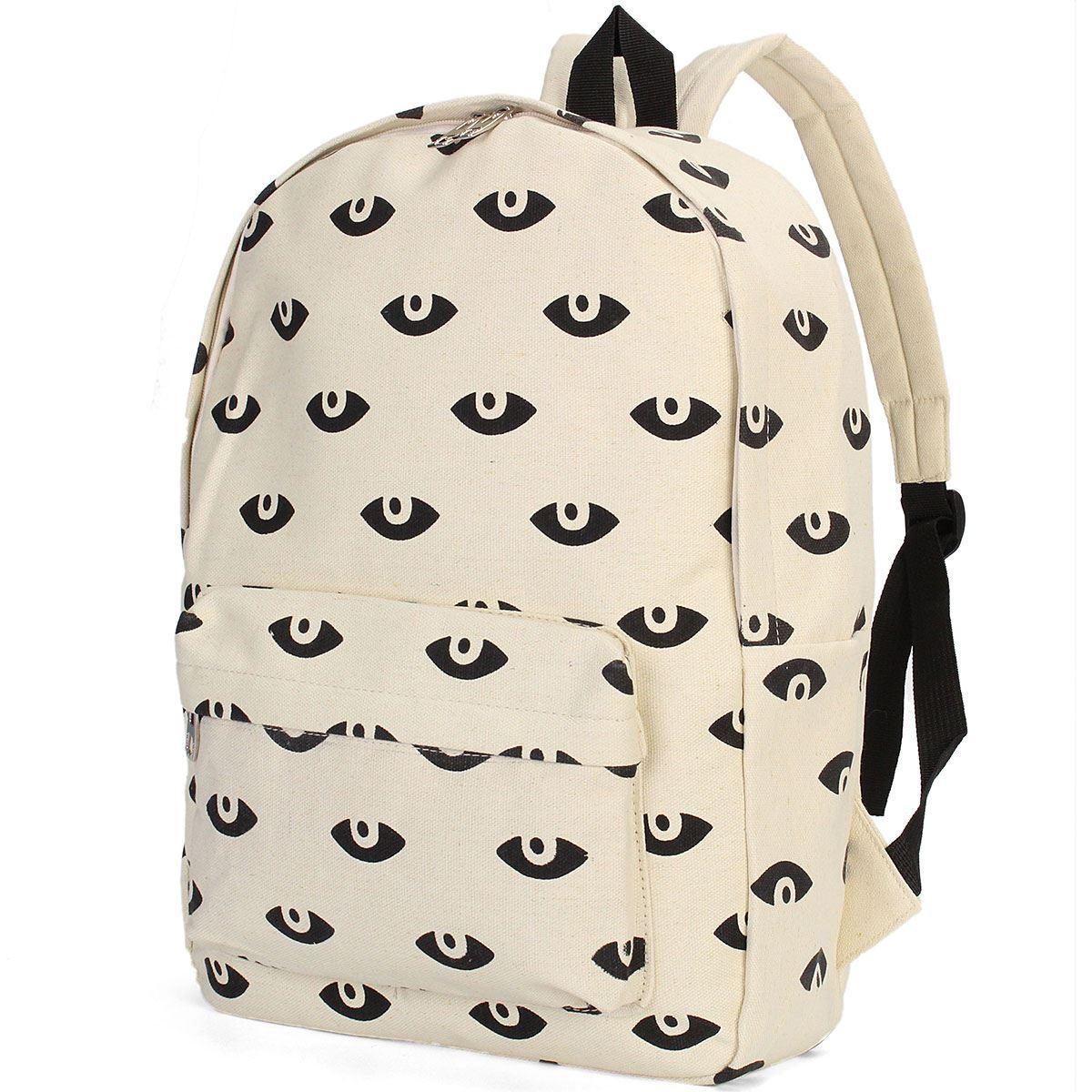 Fashion Girls Lady Unique Canvas Backpack Cute Big Eyes Pattern ...