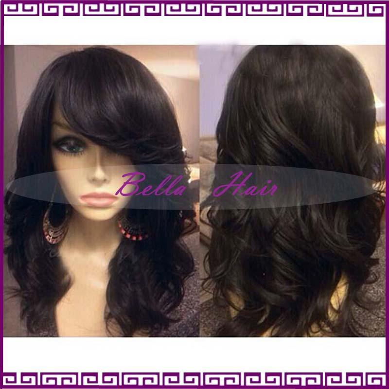 full lace human hair wigs with bangs brazilian wavy lace