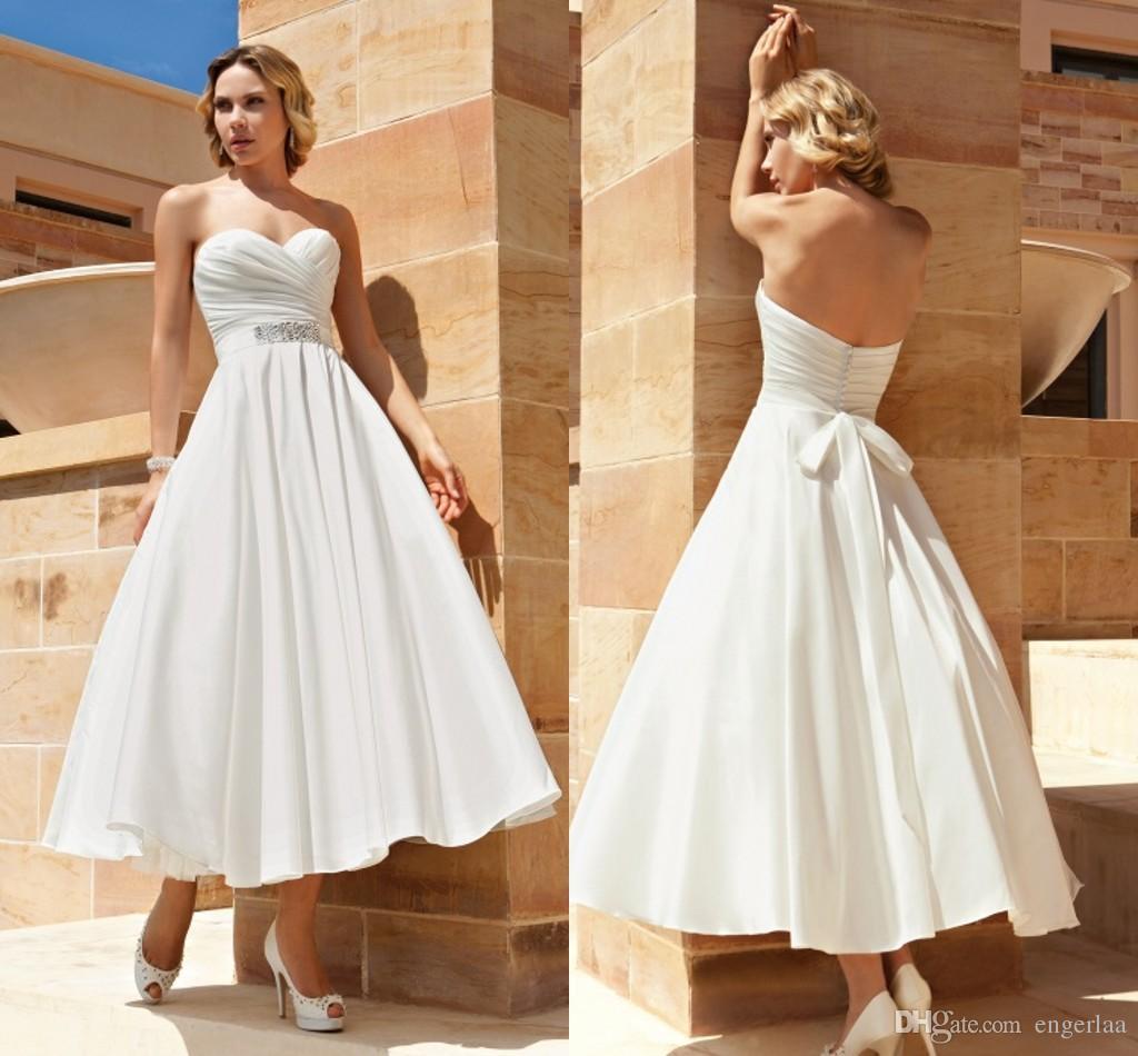 Discount 2015 a line tea length wedding dresses sweetheart for Sweetheart neckline tea length wedding dress