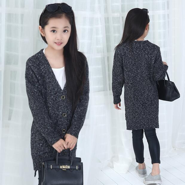 Teenagers Casual Cardigan 2015 Winter Hot Fashion Korean Style Girls Knitting Shirt Long Style