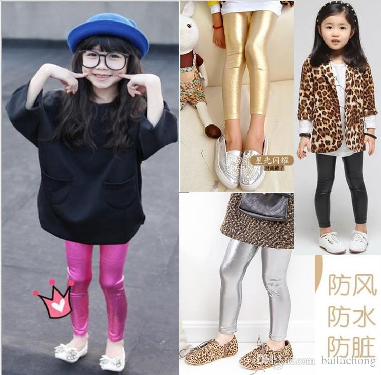 Best 2016 kids girls faux leather tights leggings baby girl shiny gold