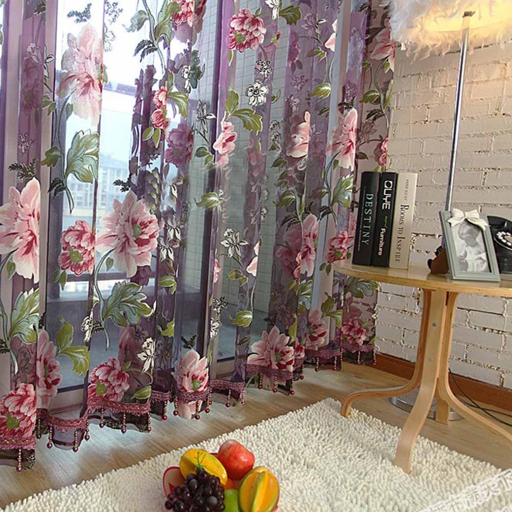 Redcolourful 3d орхидея цветочные тюль sheer ткань окна штор.