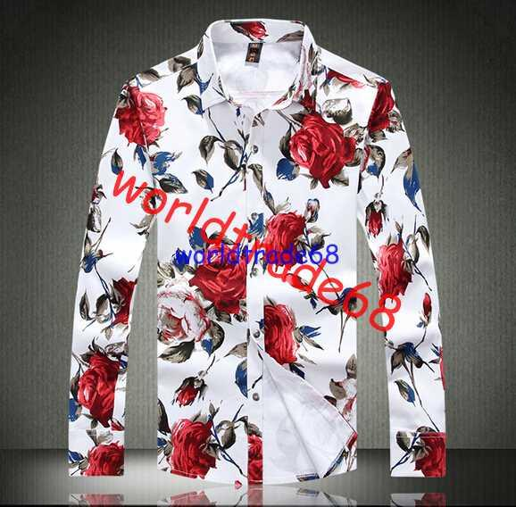 2017 Brand New New Flowers Print Long Sleeve Shirt Men'S Slim ...