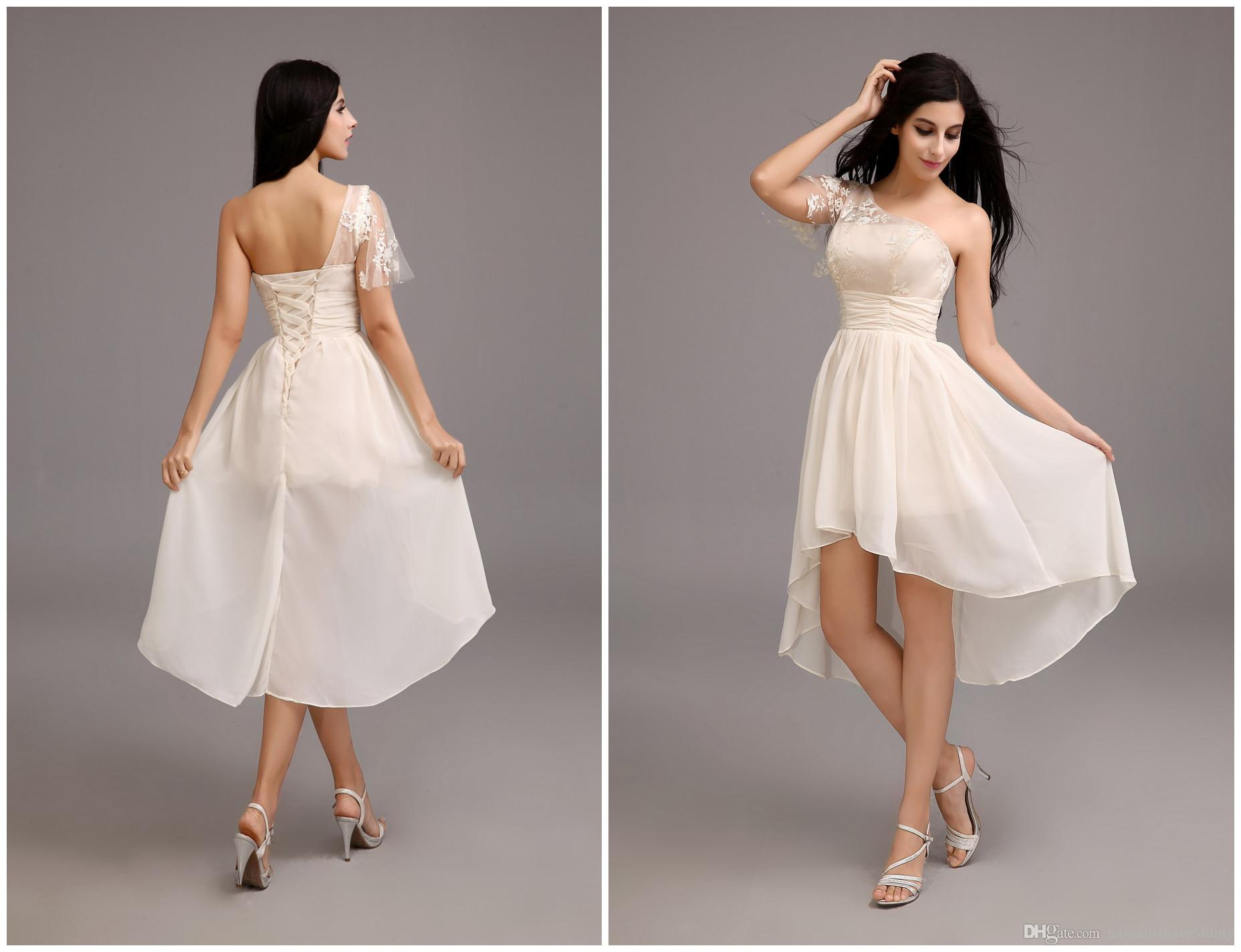 2015 Short Chiffon Beach Bridesmaid Dresses Cheap Real