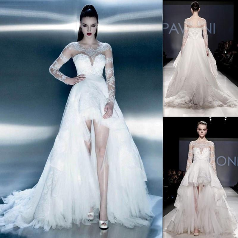 Discount high low wedding dresses long sleeves 2015 sheer for White high low wedding dress