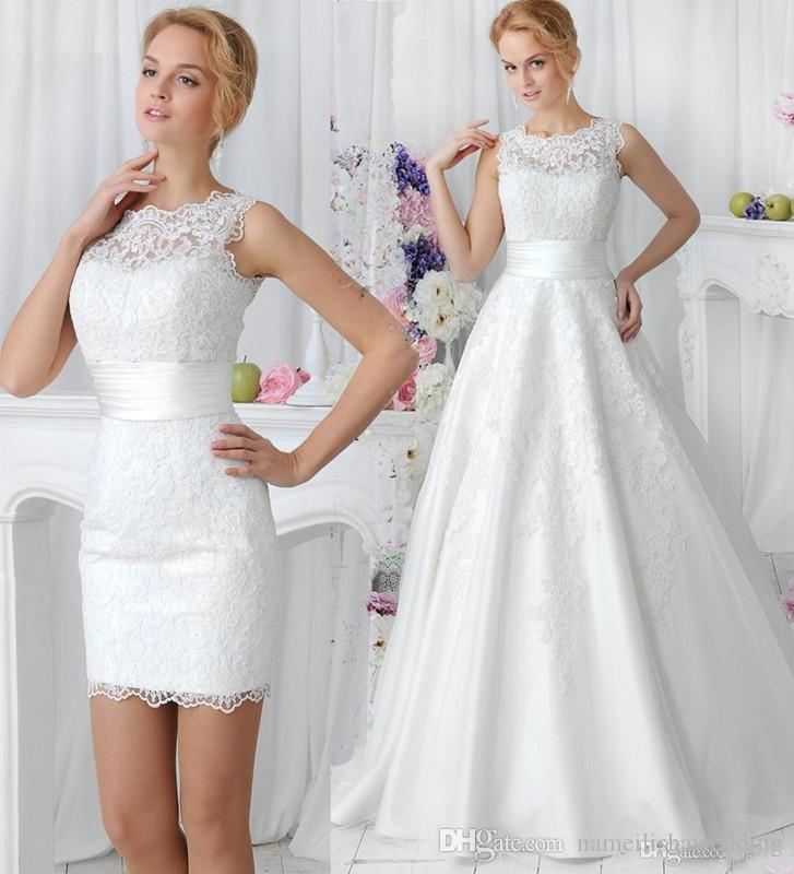 store product elegant lace wedding dresses detachable skirt high neck pieces china