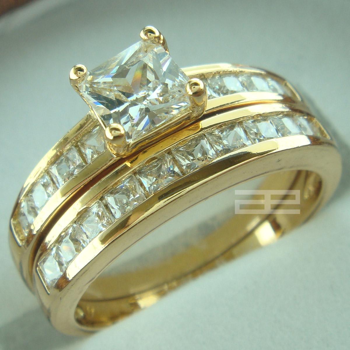 18k yellow gold gf womens engagement wedding ring set lab diamonds