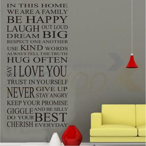 House Rules Happy Home Decor Creative Quote Wall Decal 8052