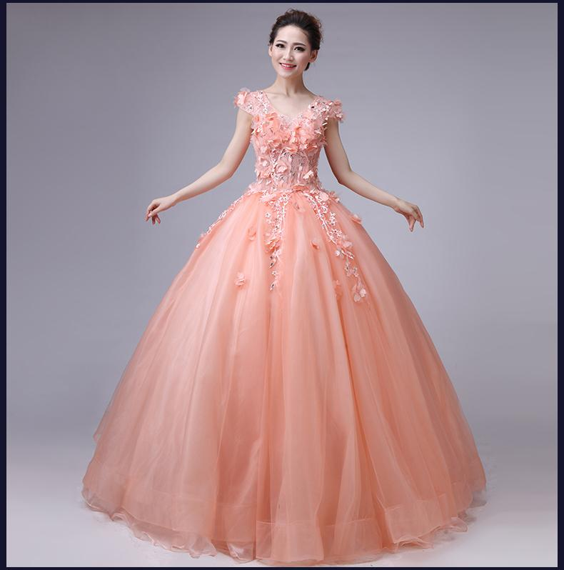 Light Pink Floral Flowers Beading Ball Gown Long Medieval Dress ...