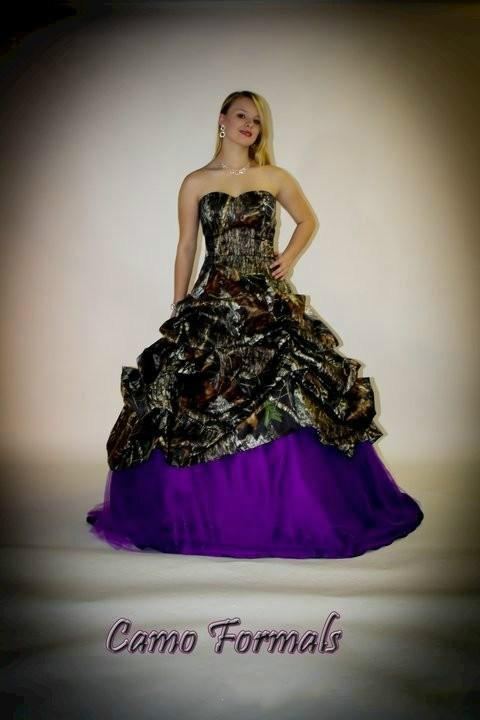 Camo Purple Wedding Dresses Ball Gown With Detachable Bow