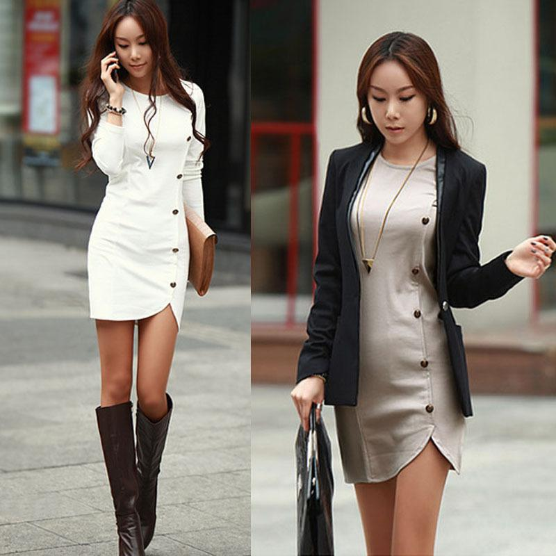 2014fashion Style Autumn Winter Women Dress Slim Elegant Longsleeve Button Bandage Bodycon Dress