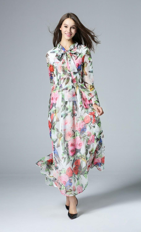 2017 Women Long Sleeve Chiffon Maxi Dress Summer Long Dresses ...