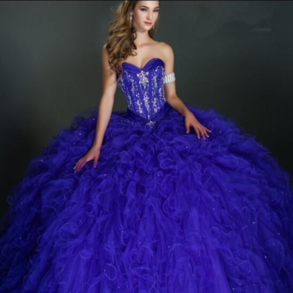 2015 Quinceanera Dresses Blue Big Ball Gown Sweetheart Sleeveless ...