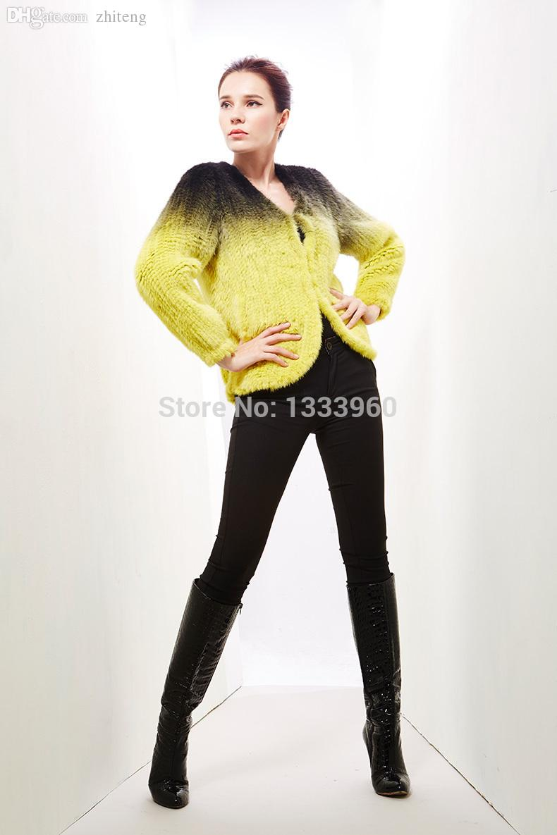 Online Cheap Wholesale Mink Jacket Genuine Fur Female Knitted Mink