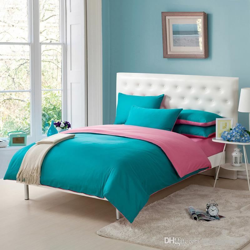 Thick cotton twill green and pink bed cover