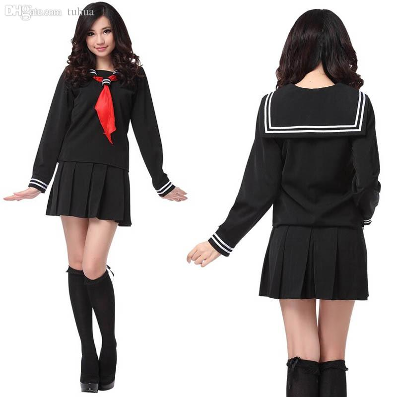 Wholesale-Japanese Navy Sailor Suit Long Sleeve School Girl Uniforms Dress Outfits Sweet Kawaii ...