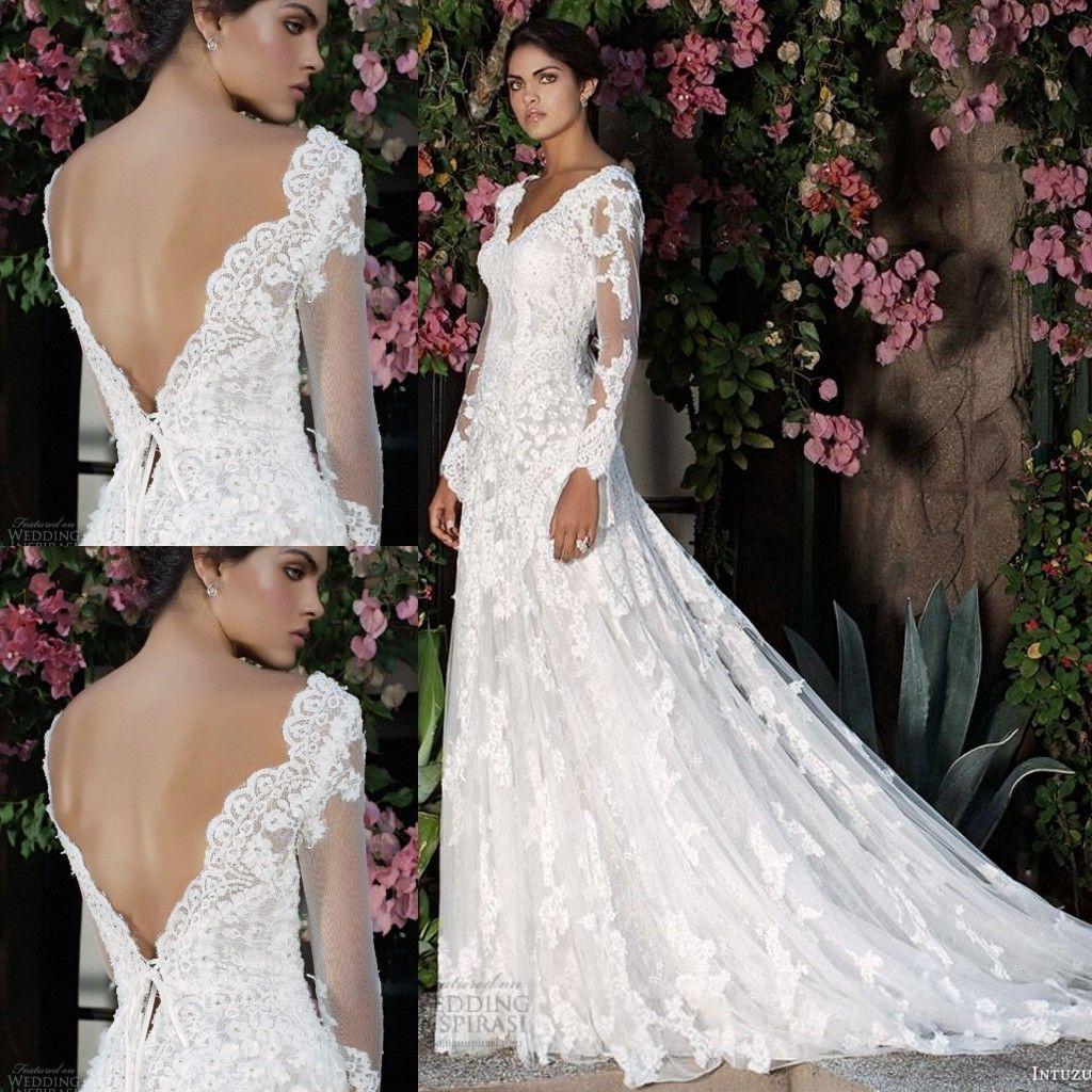 Intuzuri Wedding Dresses 2015 Backless Illusion Long Sleeves Lace ...