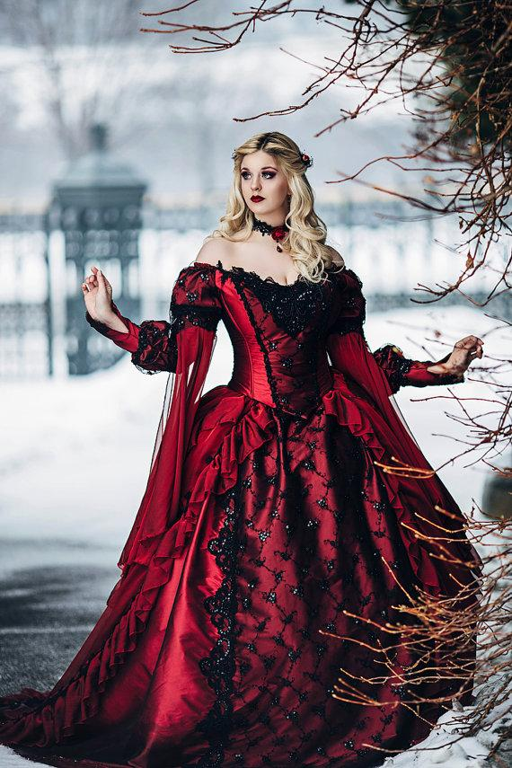 Gothic Sleeping Beauty Princess Medieval Red And Black ...