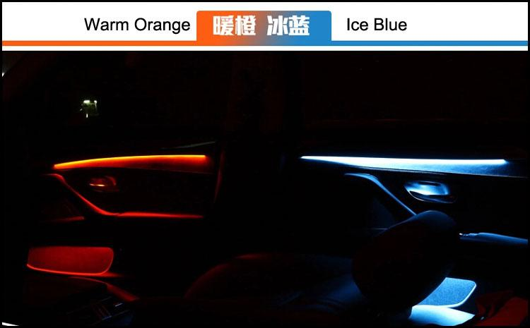 new arrival interior led car door panel atmosphere lights decoration lamp blue and orange two. Black Bedroom Furniture Sets. Home Design Ideas